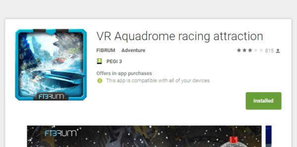 אפליקציית (VR) מציאות מדומה VR Aquadrome racing attraction