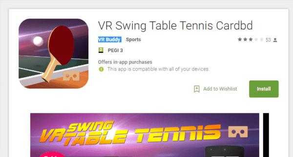 אפליקציית (VR) מציאות מדומה VR Swing Table Tennis