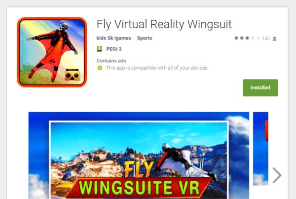 אפליקציית (VR) מציאות מדומה fly wingsuit VR