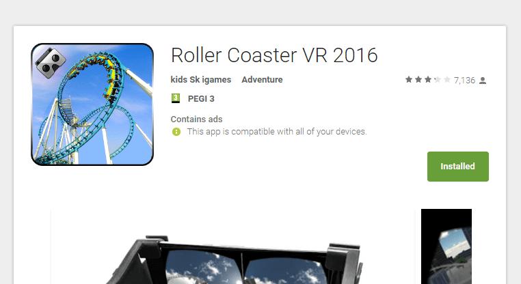 אפליקציית (VR) מציאות מדומה roller coaster vr