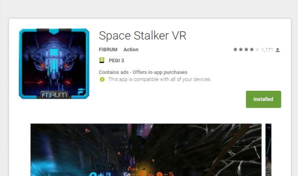 אפליקציית (VR) מציאות מדומה space stalker VR