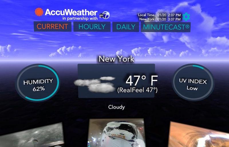 אפליקציית תחזית מזג אוויר במציאות מדומה